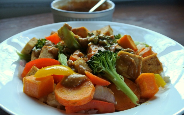Peanut Sauce and Tofu Vegetable Stir Fry